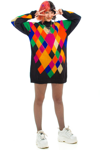 Vintage 1992 Geo Wreck Sweater Dress - XS/S