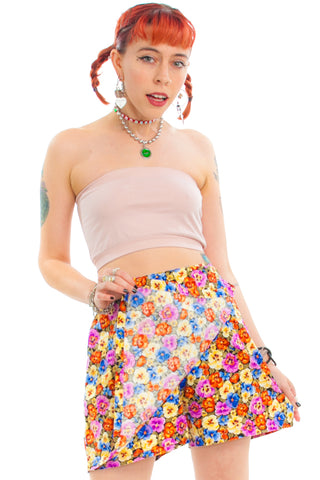 Vintage 90's Heidi Floral Mini Skort - One Size Fits Many