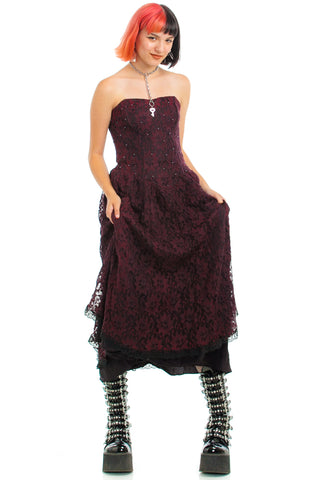 Vintage 80's Madge Lace Bordeaux Dress - S/M