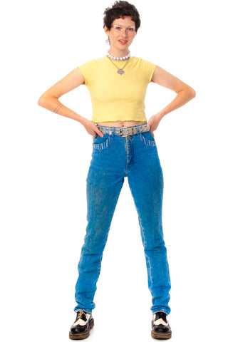 Vintage 90's Blue Stripe Trim Mom Jeans - M