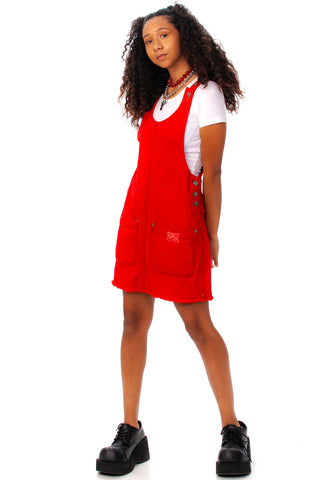 Vintage 90's Outlaw! Red Twill Overall Mini Dress - XS/S/M