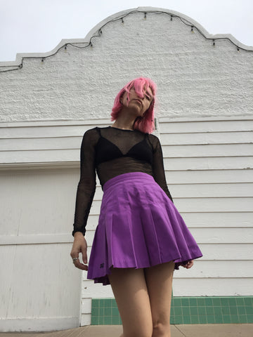 MARFA Vintage 80's Do I Lilac Emotional Depth? Pleated Tennis Skirt - L