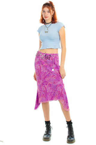Vintage 90's Silk Lilac Paisley Fairy Dream Skirt - M