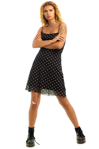 Vintage 90's Chesley Polka Dot Mesh Overlay Mini Dress - XS/S