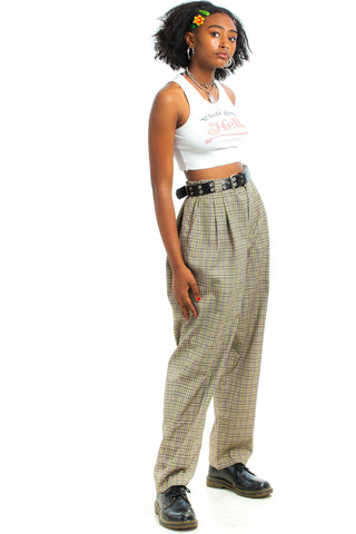 Vintage 90's Plaid Pleated Trousers - L