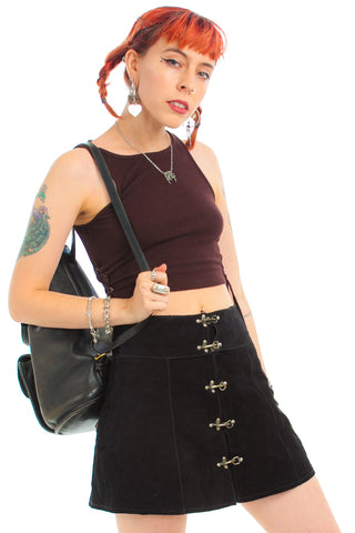 Vintage 90's Bobby Black Suede Mini Skirt - S