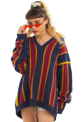 Vintage 90's College Striped Pullover Sweater - One Size Fits Many