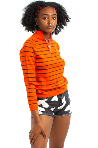 Vintage 70's Orange Crush Striped Turtleneck - One Size Fits Many