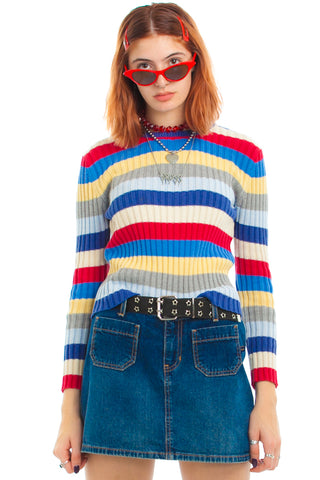 Vintage 90's No Boundaries Rib Knit Striped Sweater - One Size Fits Many
