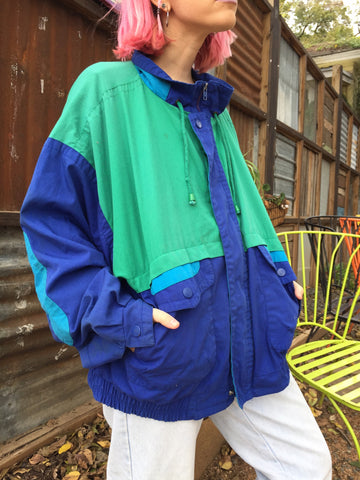 AUSTIN Vintage 90's Sea Ya Later Colorblock Jacket - One Size Fits Many
