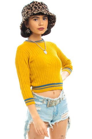 Vintage 80's Goldenrod Stripe-Trim Knit Top - One Size Fits Many