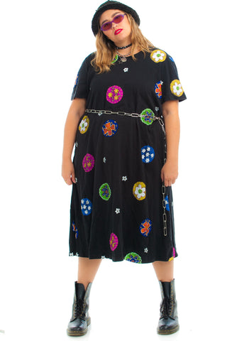 Vintage 90's Flower Pop Midi Dress - XL/2X/3X