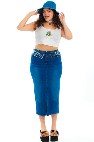 Vintage Y2K At Ur Request Stretch Denim Maxi Skirt - L