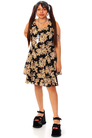 Vintage 90's Layered Ruffle Floral Mini Dress - M/L