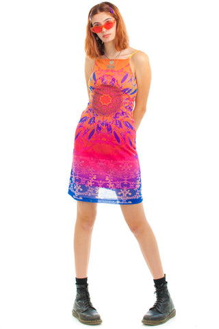 Vintage 90's Tie Dye Acid Dream Mesh Dress - XS/S/M