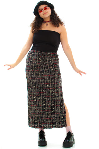 Vintage 90's Ellen Abstracted Plaid Maxi Skirt - S/M/L
