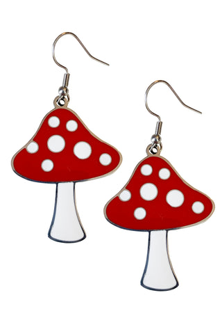 Toadstool Enamel Earrings