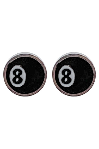 8 Ball Enamel Stud Earrings