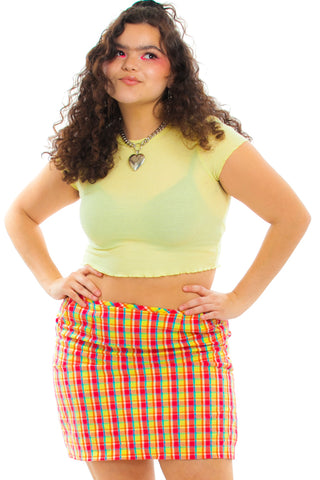Vintage 90's Esprit Sherbet Plaid Mini Skirt - L