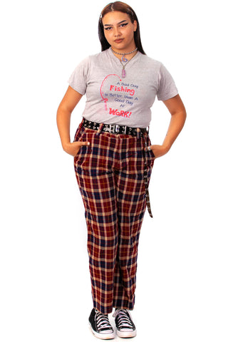 Vintage 70's Fall Tones Plaid Trousers - XL