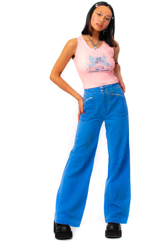 Vintage 70's Sky Blue Twill Flared Pants - XS/S
