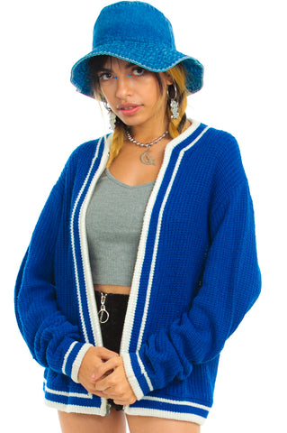 Vintage 80's Collegiate Blues Zip-Front Cardigan - One Size Fits Many