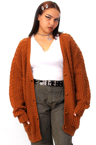 Vintage 90's Mustard Easy Cardigan - One Size Fits Many