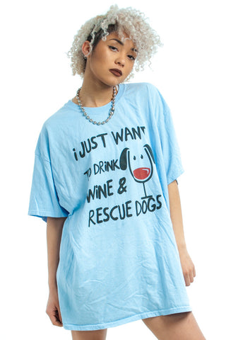 Not-Quite-Vintage Wine & Dogs Tee - One Size Fits Many