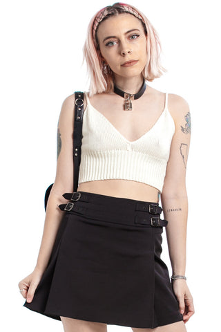 Vintage 90's Click it or Ticket Buckle Mini Skirt - M/L