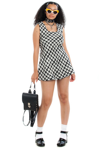 Vintage 90's Houndstooth Mini Dress - XS/S