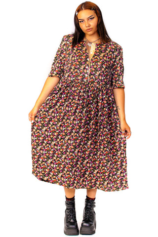 Vintage 80's Kathryn Floral Dress - XL/2X
