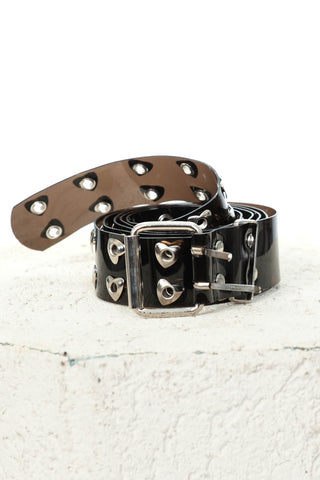Black Heart Vinyl Grommet Belt
