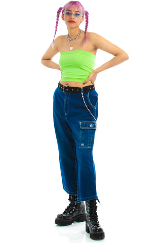 Vintage Y2K Denim Crop Cargo Pants - L