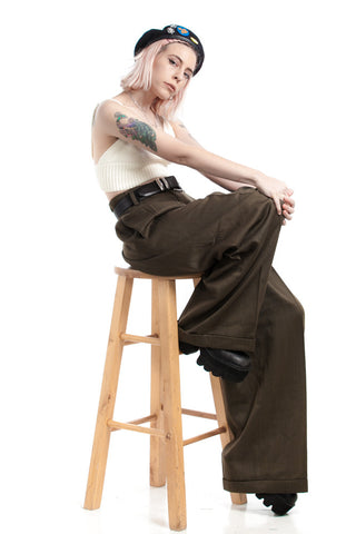 Vintage 90's We Can Do It! Wool Army Trousers - L