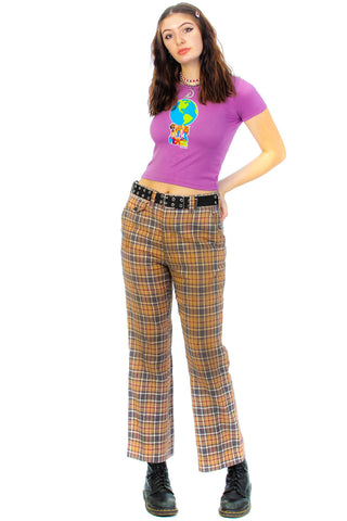 Vintage 70's Haggar Butterscotch Plaid Pants - L