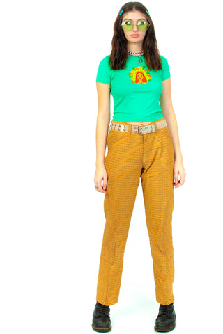 Vintage 70's Farah Plaid Mustard Trousers - L