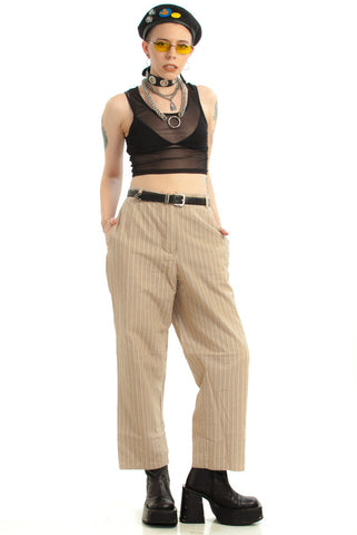 Vintage 90's I'm In Charge Now Striped Trousers - L