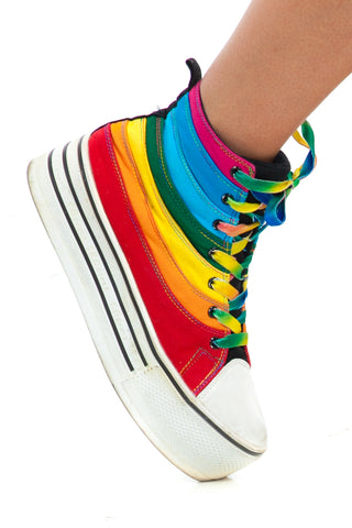 Not-Quite-Vintage Rainbow Platform Sneaks - US 10