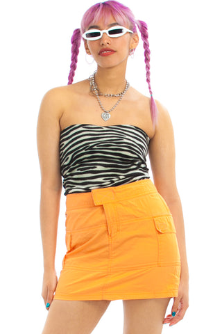 Vintage Y2K Tommy Hilfiger Neon Orange Cyber Mini Skirt - M