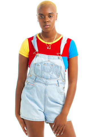 Vintage 90's Squeeze Light Wash Shortalls - XS/S/M