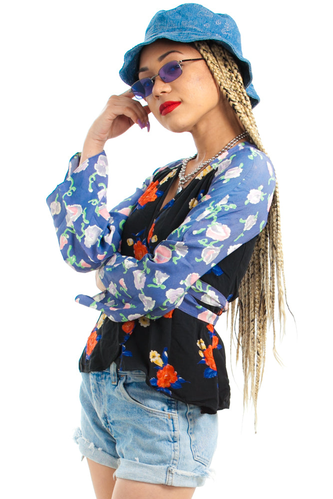 79f069cd4db1 SOLD! $74.00. Brand VINTAGE. This product is unavailable. Item Vintage 70's  Patchwork Floral Wrap Top