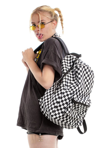 Vintage Y2K Checkered Backpack