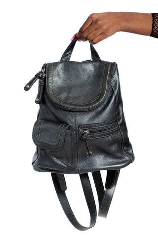 Vintage Y2K Gunmetal Leather Mini Backpack
