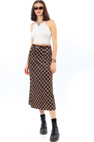Vintage 90's Chocolate Plaid Maxi Skirt - S/M