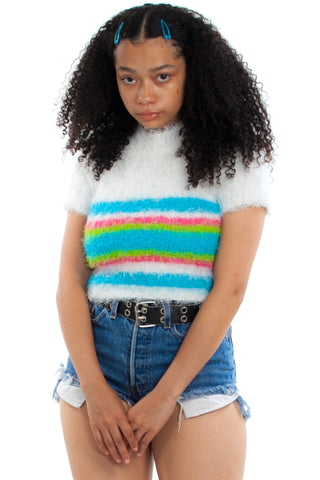 Vintage Y2K Fuzzy Stripe Sweater Top - One Size Fits Many