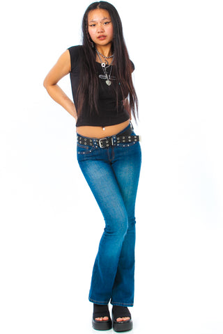 Vintage Y2K Rhinestone Pop Star Stretch Denim Flares - XS