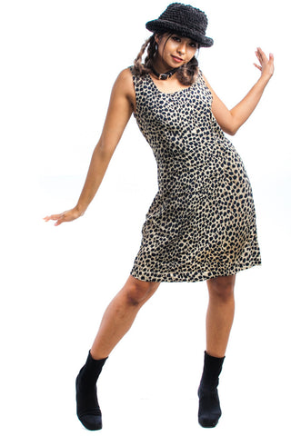 Vintage 90's Lenny Leopard Shift Dress - M/L