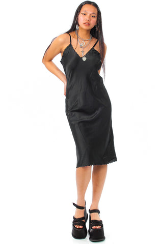 Vintage 80's Blake Black Satin Slip Dress - XS