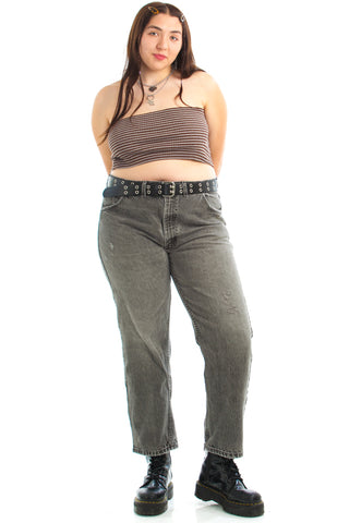 Vintage 90's Distressed Black Denim Mom Jeans - 2X