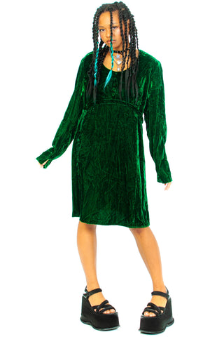 Vintage 70's Emerald Green Velvet Mini Dress - One Size Fits Many
